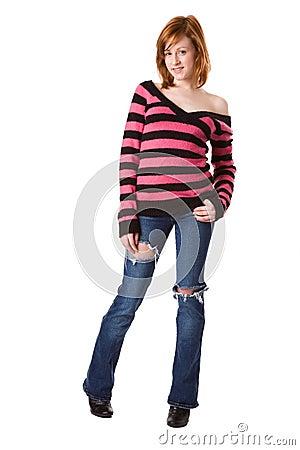 Cute Redhead in striped sweater