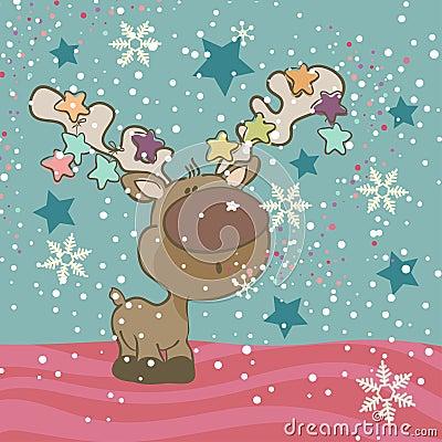 Cute Reindeer blowing Snowflakes