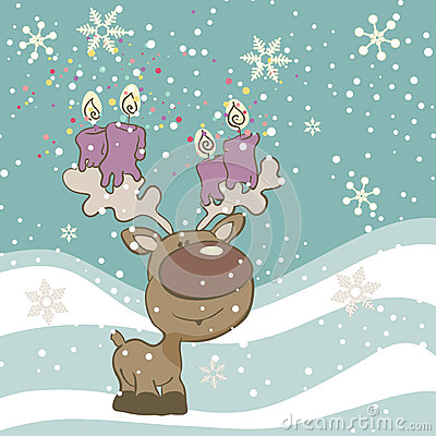 Cute Reindeer with Candles