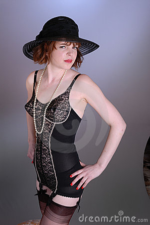 Cute Retro Burlesque Girl In Lingerie Royalty Free Stock