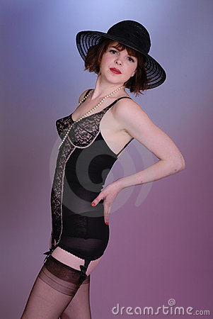 Cute retro burlesque girl in lingerie