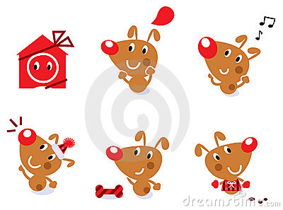 Cute retro christmas dog set