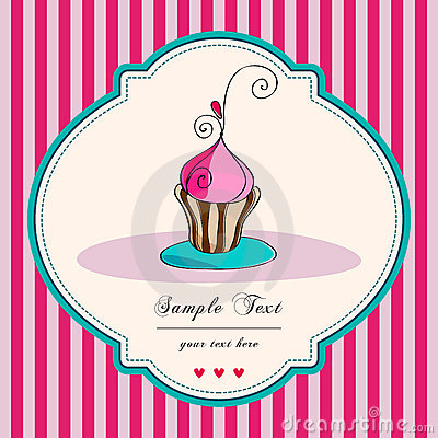 Cute retro cupcake card