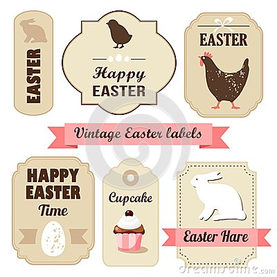 Free Cute Retro Easter Set Of Labels With Eggs, Chicken Royalty Free Stock Image - 37023416
