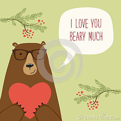 Free Cute Retro Hand Drawn Valentine`s Day Card As Funny Bear With Heart And Speech Bubble Royalty Free Stock Photo - 103056895