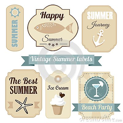 Cute retro set of summer vacation labels,