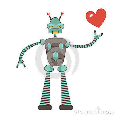 Free Cute Robot In Love Holding Heart Royalty Free Stock Photos - 51419068