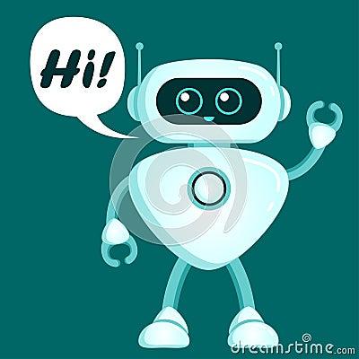 Free Cute Robot Say Hi. Chatbot Icon Royalty Free Stock Photography - 130910737