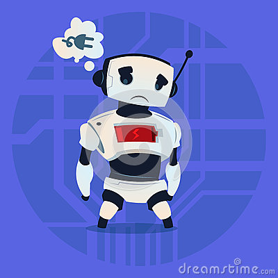 Cute Robot Tired Low Battery Charge Modern Artificial Intelligence Technology Concept Vector Illustration