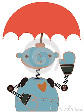 Cute Robot with Umbrella attached to head waving