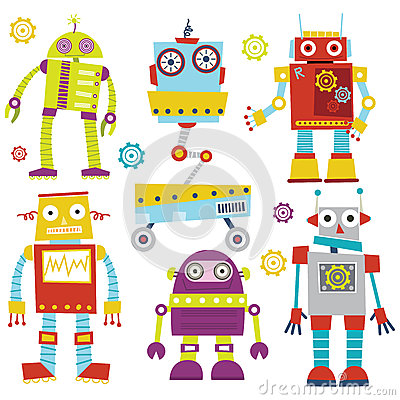 Free Cute Robots Stock Images - 57522494