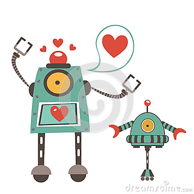 Free Cute Robots In Love Couple Royalty Free Stock Photo - 51419165