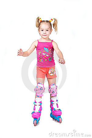 Cute roller skating little girl isolated on white