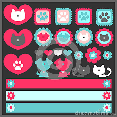 Cute romantic elements with dogs and cats