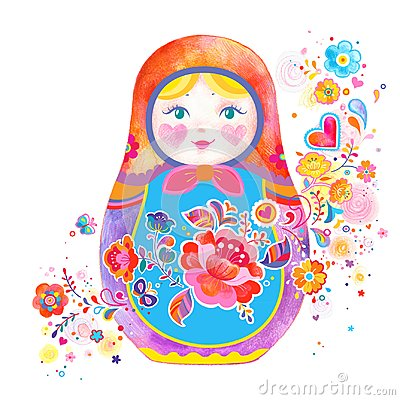 Cute Russian Doll Illustration Stock Photo
