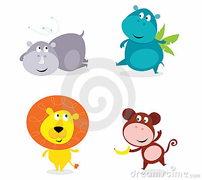 Cute safari animals set - hippo, rhino, lion...