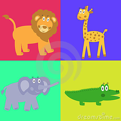 Cute safari cartoon animals set