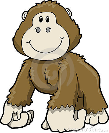 Cute Safari Gorilla Vector