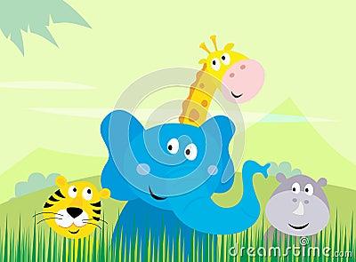 Cute safari Jungle animals - Tiger, Elephant, Gira