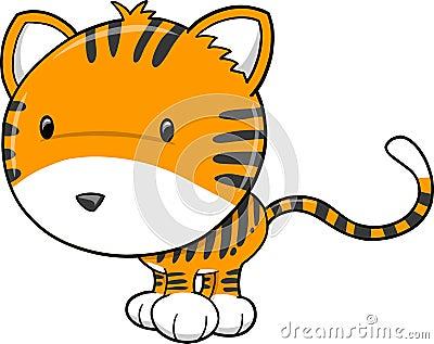 Cute Safari Tiger Vector