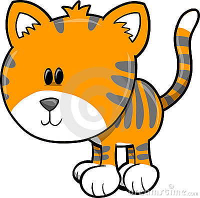 Cute Safari Tiger Vector Illustration