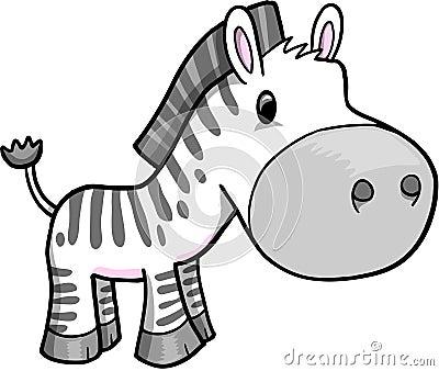 Cute Safari Zebra Vector