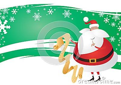 Cute Santa with List on a wavy festive Green Backg
