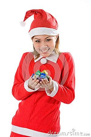 Cute santa tiny gifts joy