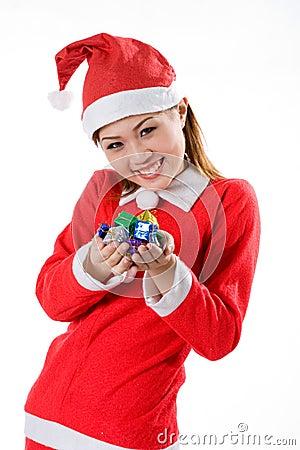Cute santa tiny gifts smiling