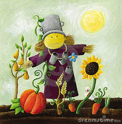 Cute Scarecrow on the field