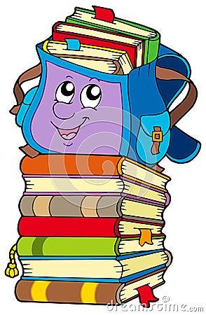 Cute school bag on pile of books