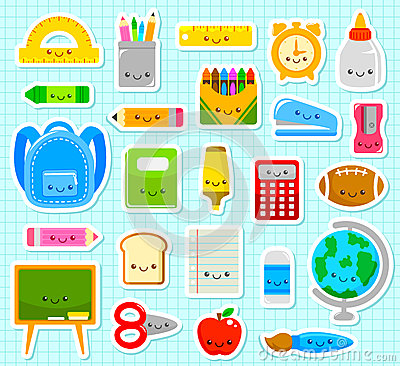 Free Cute School Items Stock Photography - 57164442