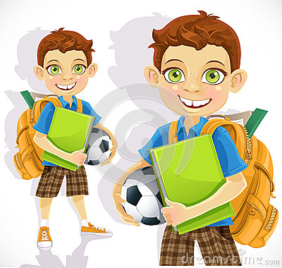 Cute schoolboy with backpack and a textbook