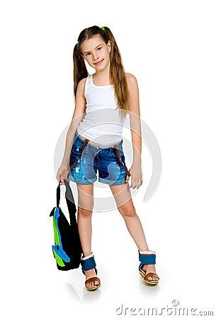 Cute schoolchild with knapsack