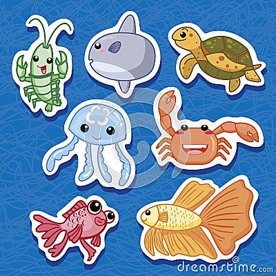 Cute sea animal stickers 03