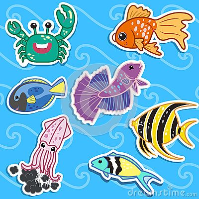 Cute sea animal stickers04