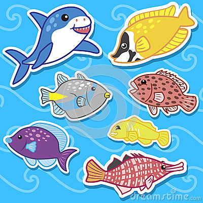 Cute sea animal stickers07