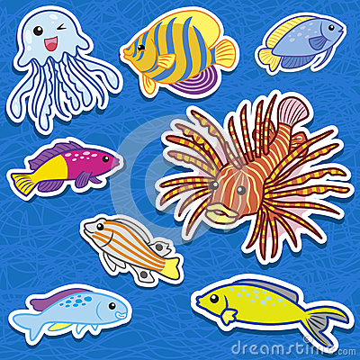 Cute sea animal stickers09