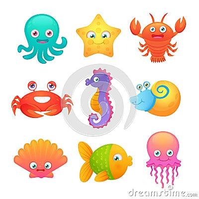 Free Cute Sea Animals Stock Photo - 46945200
