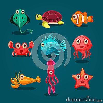 Free Cute Sea Life Creatures Cartoon Animals Set Stock Images - 54029704