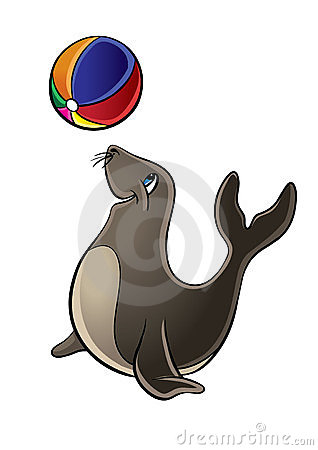 Cute Seal playing with Ball