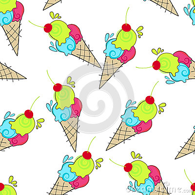 Cute seamless ice cream background