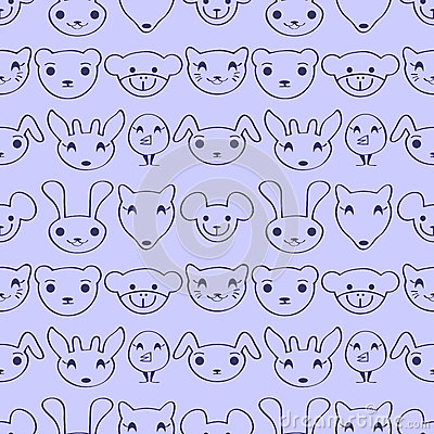Cute seamless pattern with animal faces