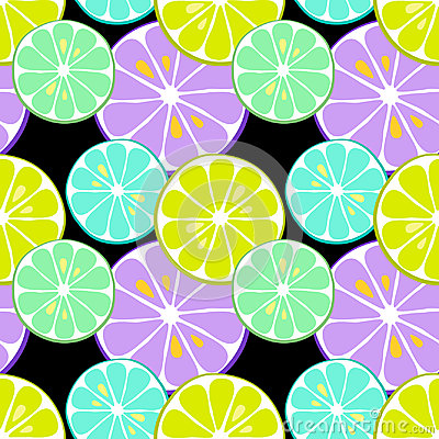 Cute seamless pattern of citrus fruits lemon and lime with simple textures and neon colors Vector Illustration
