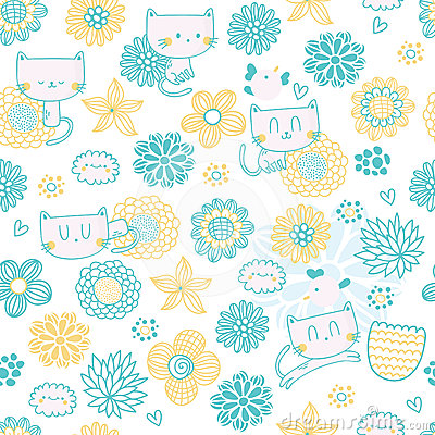 Cute seamless pattern with funny cartoon cats