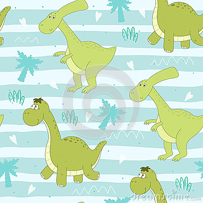 Cute seamless pattern with funny dinosaurs. vector illustration. Vector Illustration