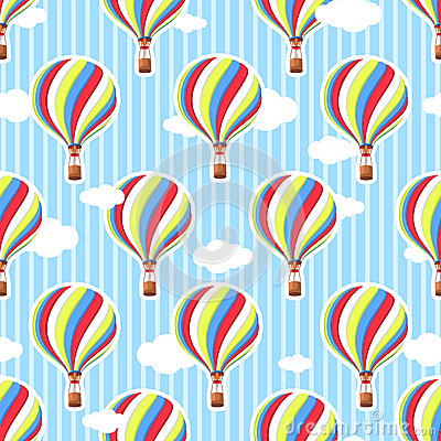Free Cute Seamless Pattern In The Nursery. Hot Air Balloon, Clouds. Seamless Background. The Pattern In Pastel Colors. Royalty Free Stock Photos - 59209598