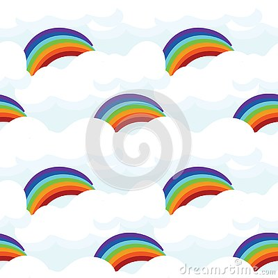 Cute seamless pattern with rainbow Stock Photo