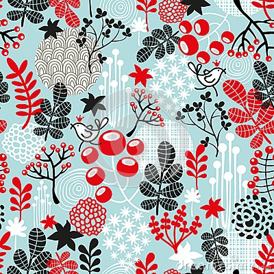 Cute seamless pattern with snow birds in crown.