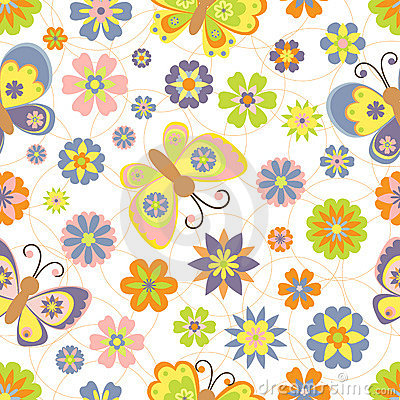 Cute seamless pattern with spring